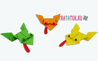Прыгающая лягушка из бумаги: схема оригами