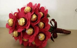 Букеты из конфет: мастер класс (изготавливаем ручной букет) с фото