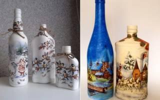 Декупаж бутылок салфетками своими руками: мастер-класс для начинающих с фото и видео-мк