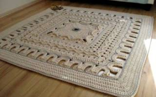 Квадратный коврик крючком: схема для начинающих