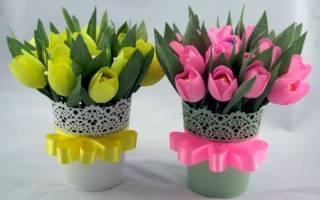 Тюльпан из гофрированной бумаги: мастер класс пошагово