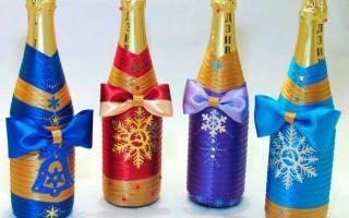 Новогоднее оформление шампанского: мастер класс лентами с фото