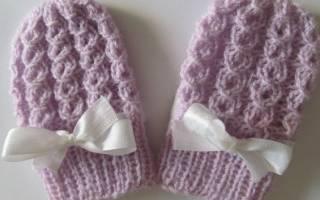 Варежки для новорожденного: вяжем спицами без пальчика