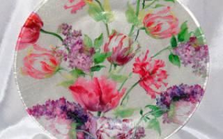 Делаем декупаж на стекле — тарелках, бокалах и вазах (с пошаговыми фото)