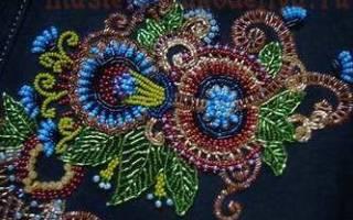 Вышивка бисером на одежде: схемы и узоры на платье