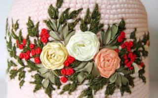 Вышивка на вязаном изделии: схемы узоров и видео-подборка