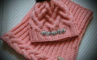 Комплект шапка и снуд спицами: вяжем для мальчика, для девочки и для женщин
