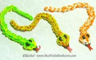 Как сплести из резинок змею: схема на вилке и на станке крючком