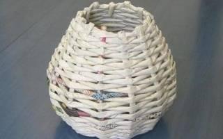 Ситцевое плетение из газетных трубочек: мастер класс для начинающих с видео