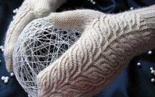 Варежки спицами с узорами и схемами — пошаговый мастер-класс