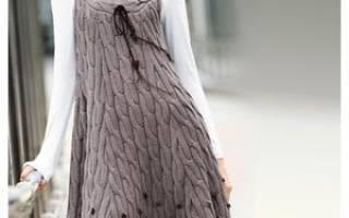 Летние вязаные спицами сарафаны для девочек и женщин