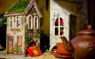 Декупаж чайного домика: мастер класс с фото и видео инструкциями