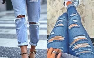 Рваные джинсы своими руками фото поэтапно: варианты с кружевом и с вышивкой