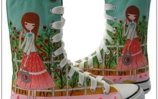 Роспись кед своими руками: мастер класс акриловыми красками и маркером