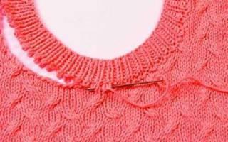 Вывязывание горловины спицами: вяжем спинки пошагово
