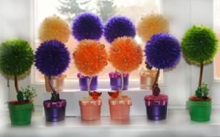 Топиарии из органзы: мастер класс из атласных лент и из искусственных цветов