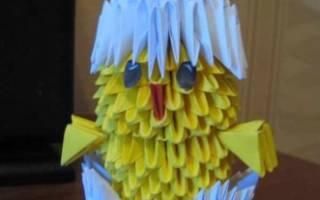 Модульное оригами цыпленок в скорлупе: мастер класс и схема сборки