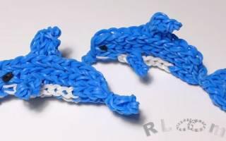 Как сплести из резинок дельфина: плетём на крючке, на вилках и на рогатке