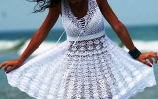 Белое платье крючком: делаем со схемами на лето